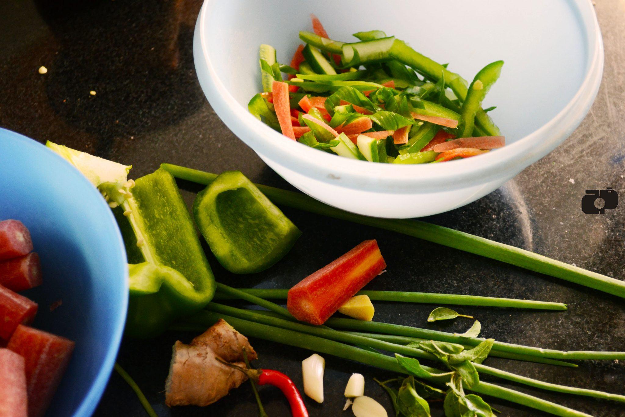 Asian style Salad prep