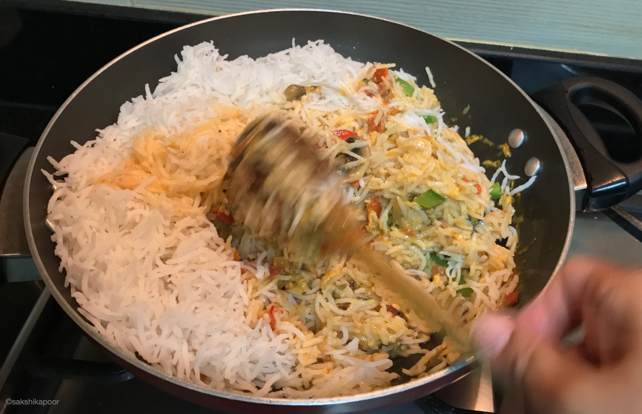 Easy herby egg rice with stir fried veggies recipe