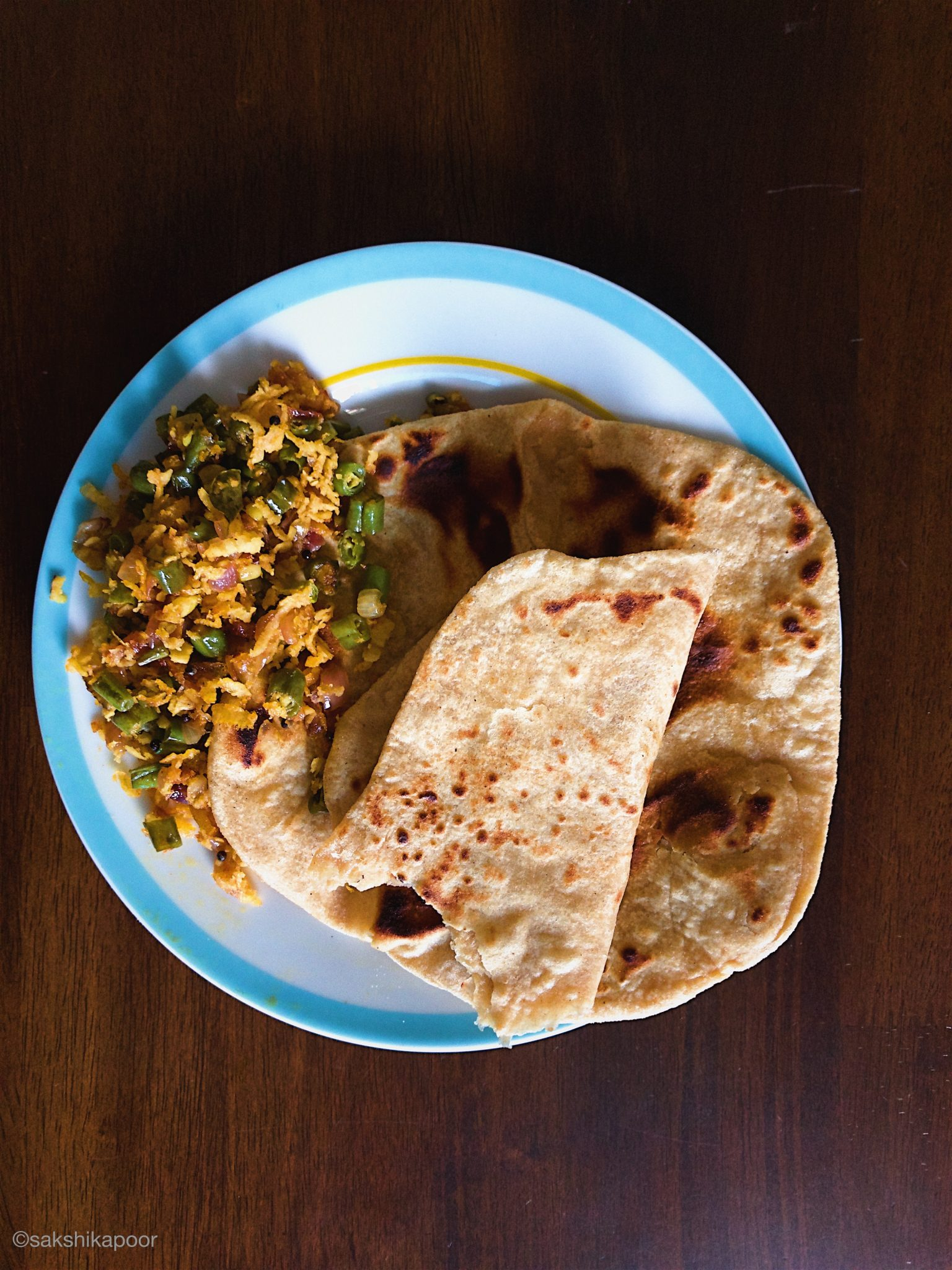 Rotis served with Beans thoran stir fry