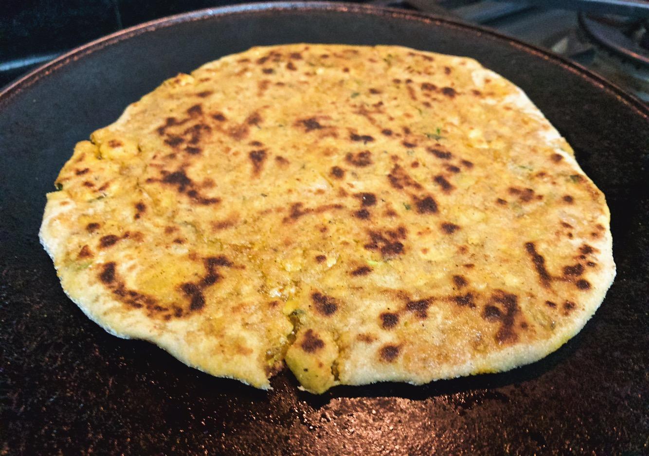 cooking paneer paratha