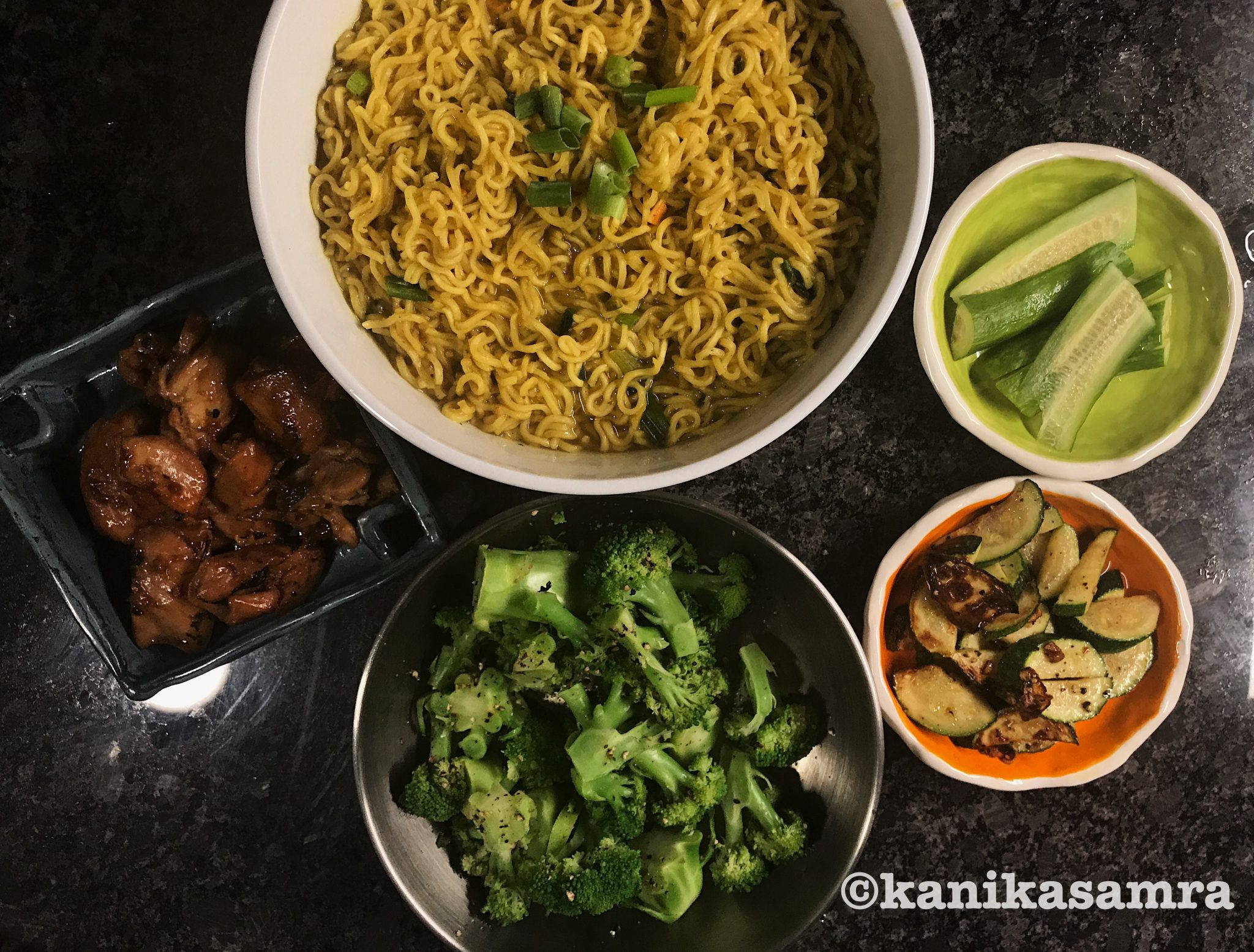 Fusion Meal with Soya Marinated Chicken with noodles and vegetables