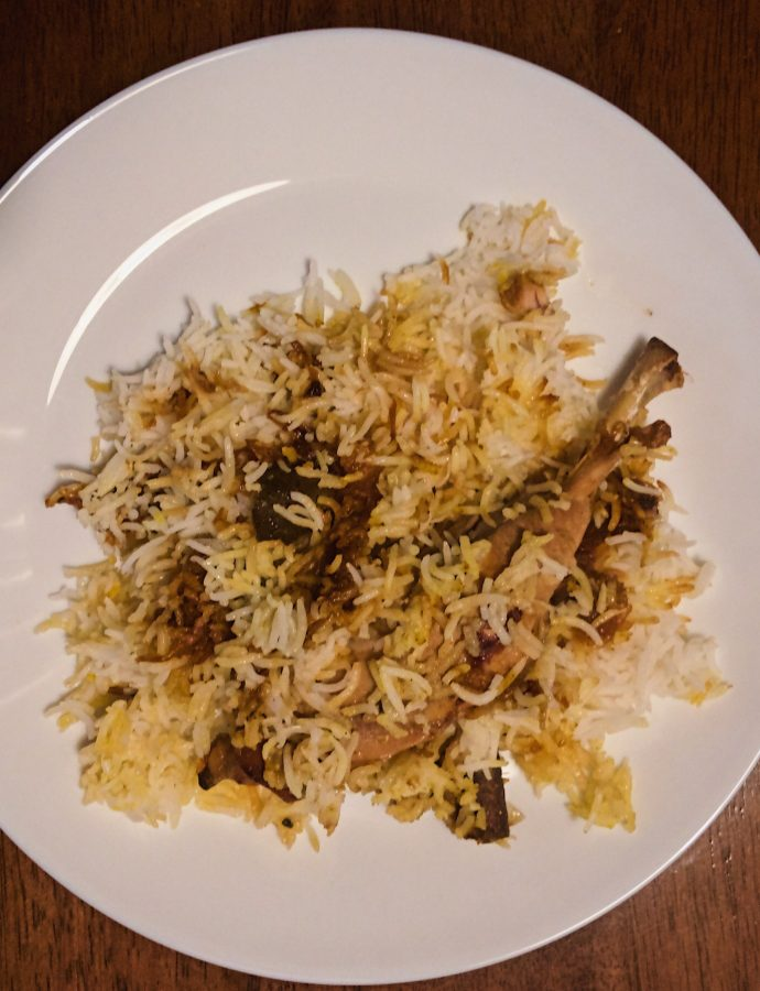 Awadhi Chicken Dum Biryani by a friend and Onion Raita