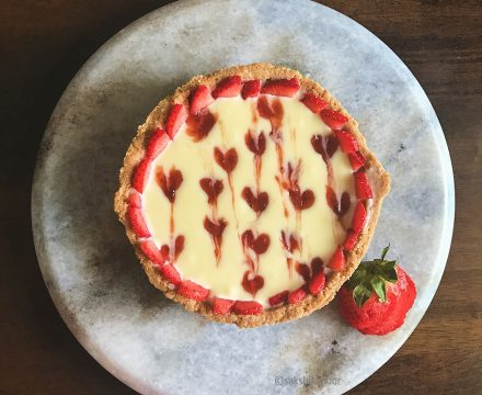 No Bake Strawberry & White Chocolate Ganache Tart