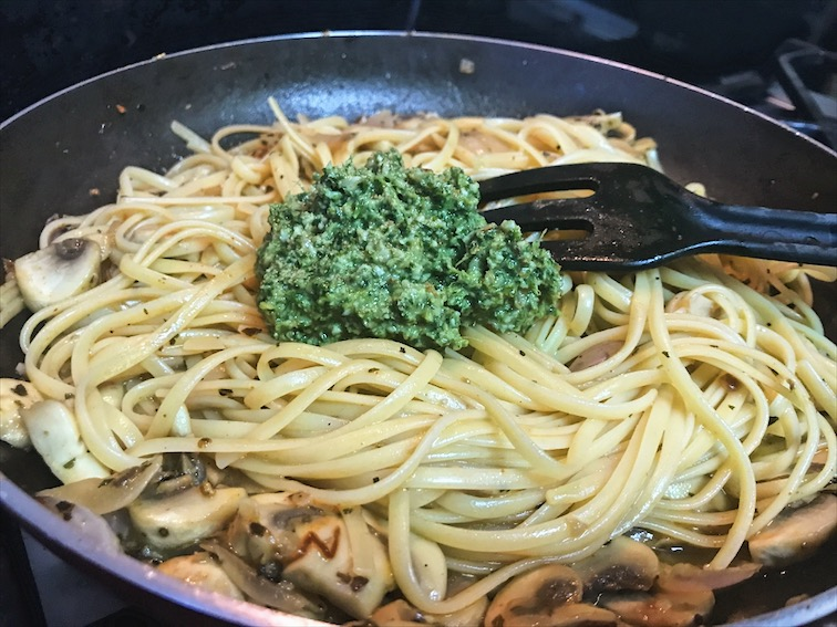 Carrot top pesto mushroom linguine recipe