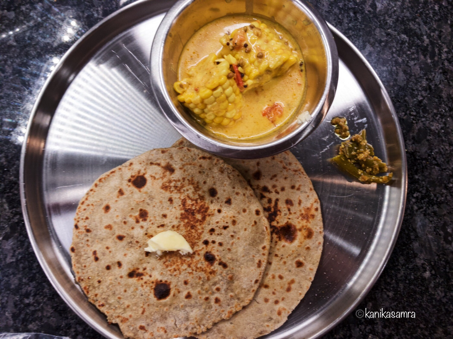 Corn Curry, Roti, Pickle