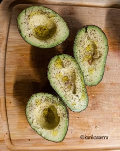 Avocados with olive oil, salt and pepper