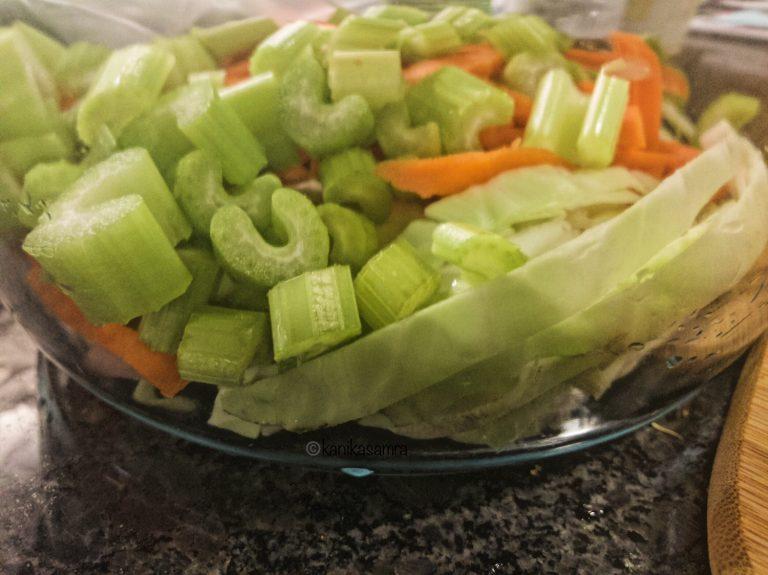 Vegetable prep for warm noodle salad.
