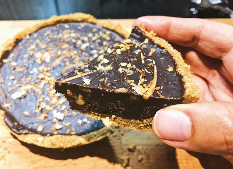 Salted Dark Chocolate Ganache tart with Coconut recipe