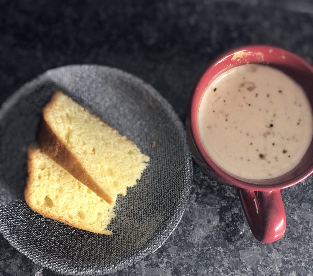 Time for a coffee break with beaten coffee and cake